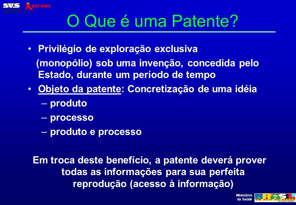 O Que é uma Patente Privilégio de exploração exclusiva