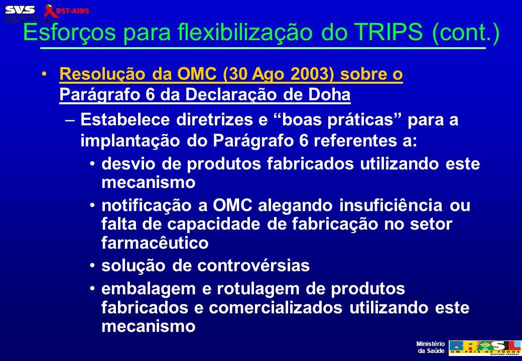 Esforços para flexibilização do TRIPS (cont.)