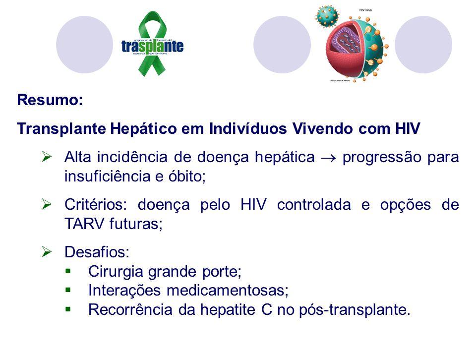 Resumo: Transplante Hepático em Indivíduos Vivendo com HIV. Alta incidência de doença hepática  progressão para insuficiência e óbito;