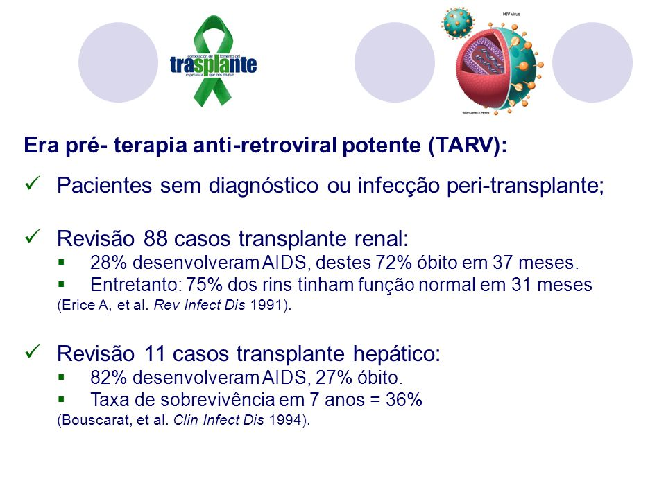 Era pré- terapia anti-retroviral potente (TARV):
