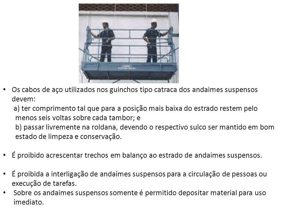 Os cabos de aço utilizados nos guinchos tipo catraca dos andaimes suspensos devem: