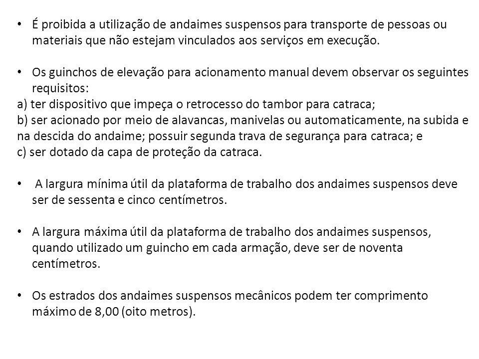 É proibida a utilização de andaimes suspensos para transporte de pessoas ou materiais que não estejam vinculados aos serviços em execução.