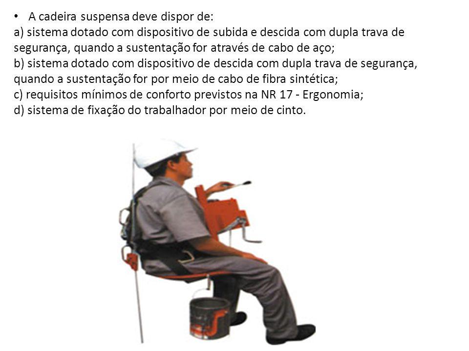 A cadeira suspensa deve dispor de: