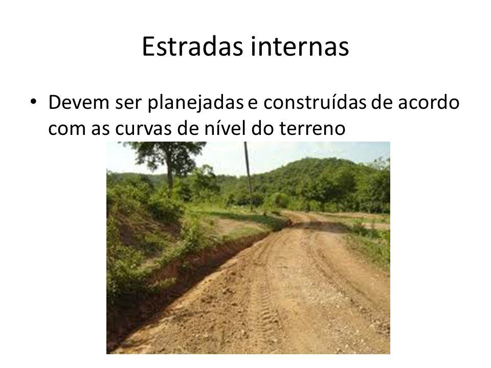 Estradas internas Devem ser planejadas e construídas de acordo com as curvas de nível do terreno