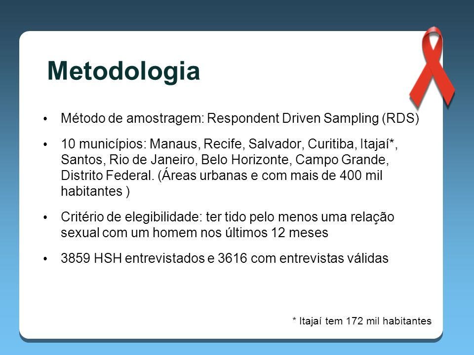 Metodologia Método de amostragem: Respondent Driven Sampling (RDS)