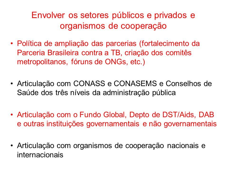 Envolver os setores públicos e privados e organismos de cooperação