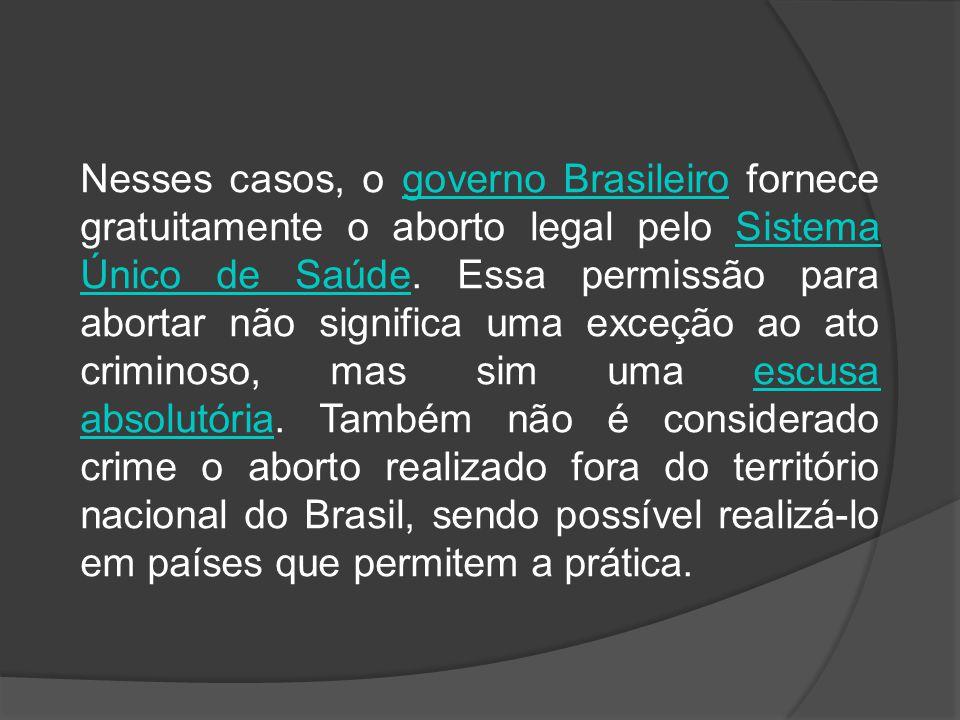 Nesses casos, o governo Brasileiro fornece gratuitamente o aborto legal pelo Sistema Único de Saúde. Essa permissão para abortar não significa uma exceção ao ato criminoso, mas sim uma escusa absolutória. Também não é considerado crime o aborto realizado fora do território nacional do Brasil, sendo possível realizá-lo em países que permitem a prática.
