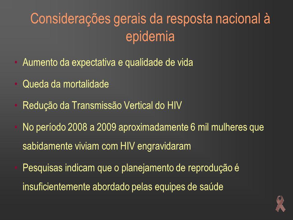 Considerações gerais da resposta nacional à epidemia