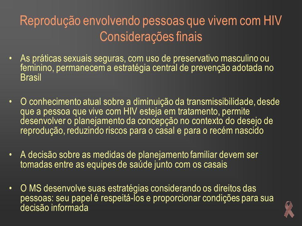Reprodução envolvendo pessoas que vivem com HIV Considerações finais