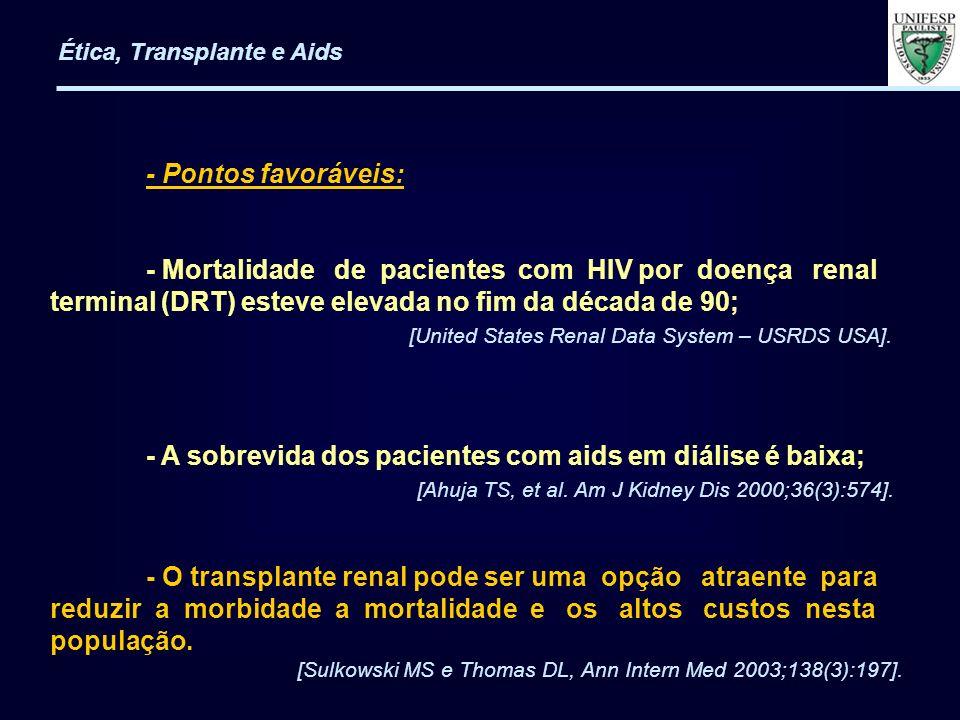 - Mortalidade de pacientes com HIV por doença renal