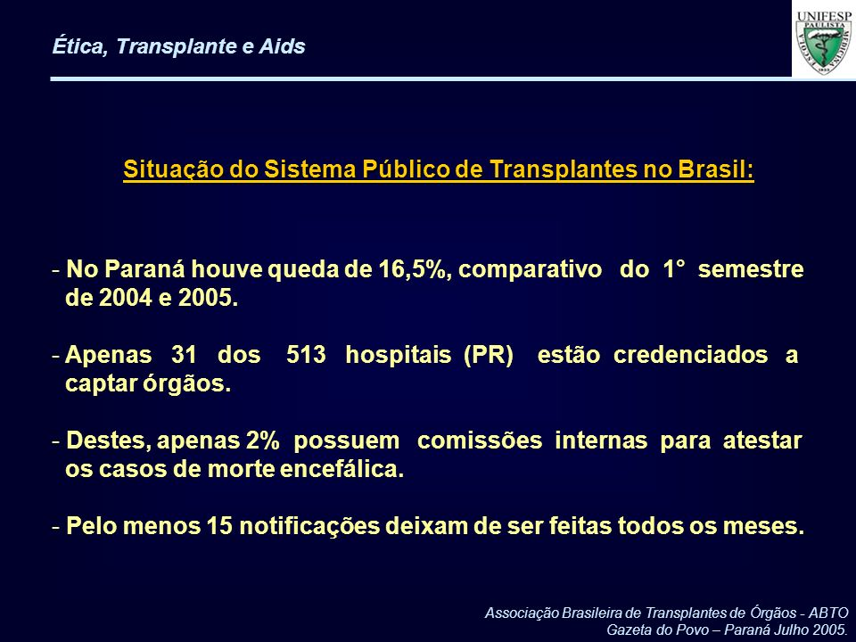 Situação do Sistema Público de Transplantes no Brasil: