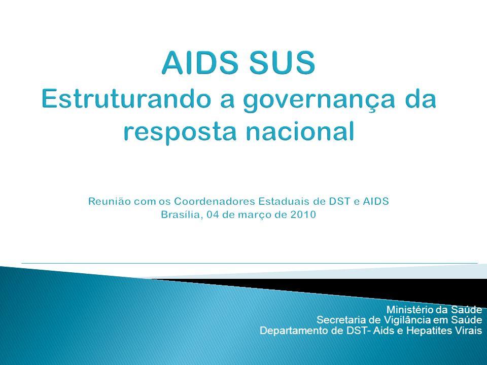AIDS SUS Estruturando a governança da resposta nacional Reunião com os Coordenadores Estaduais de DST e AIDS Brasília, 04 de março de 2010