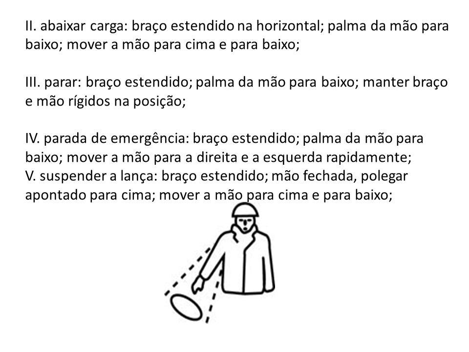 II. abaixar carga: braço estendido na horizontal; palma da mão para baixo; mover a mão para cima e para baixo;