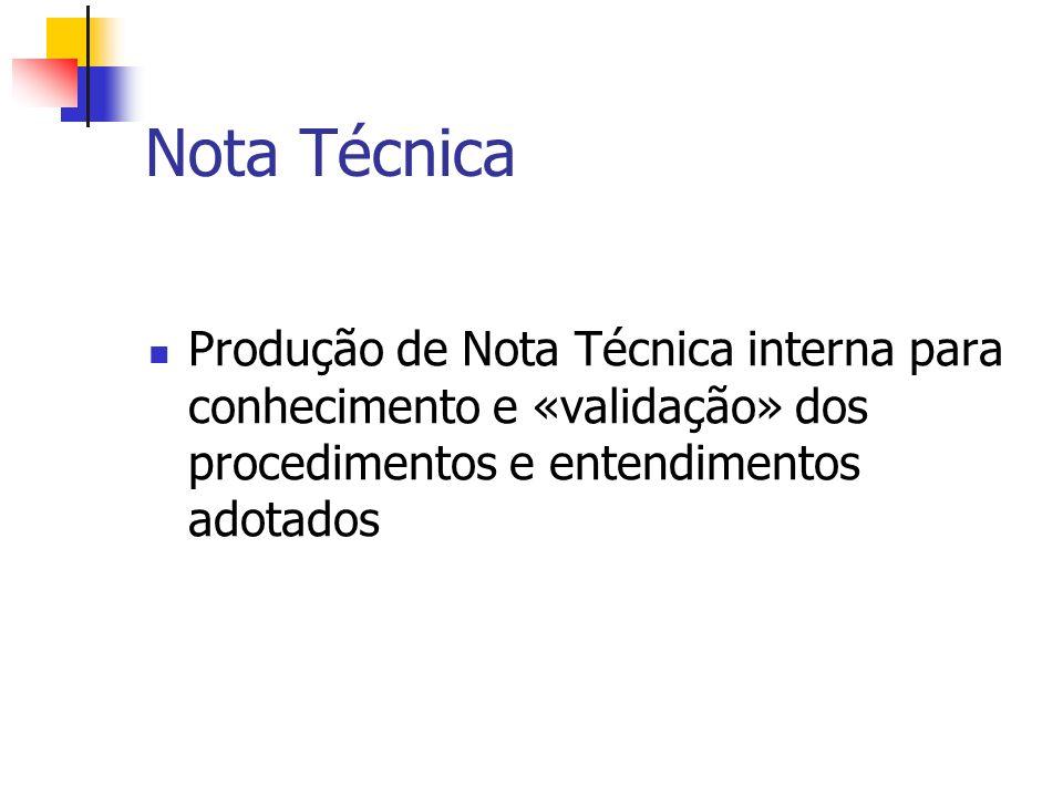Nota Técnica Produção de Nota Técnica interna para conhecimento e «validação» dos procedimentos e entendimentos adotados.