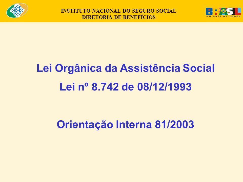 Lei Orgânica da Assistência Social Lei nº 8.742 de 08/12/1993