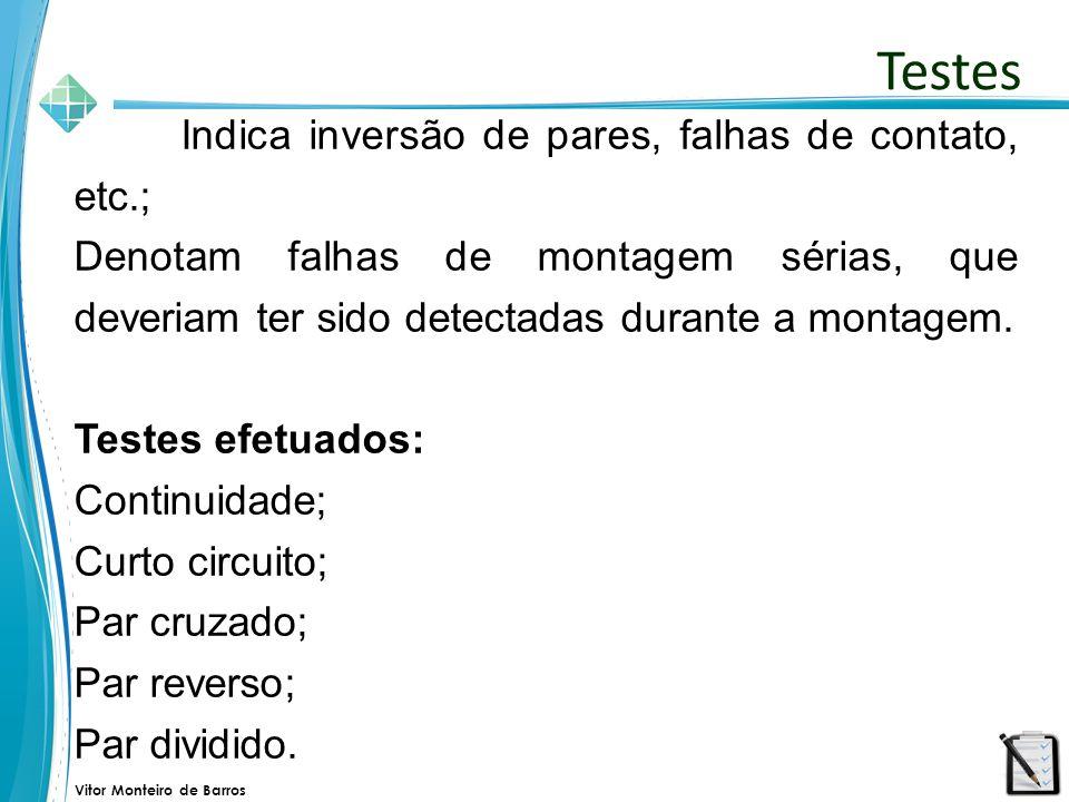 Testes Indica inversão de pares, falhas de contato, etc.;