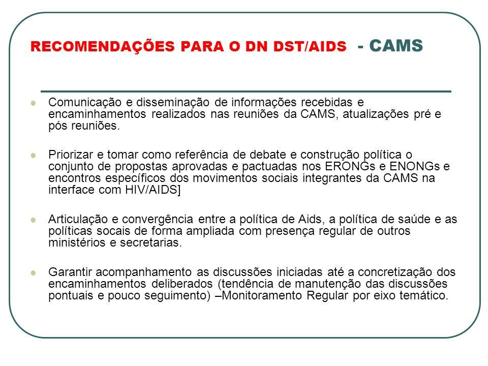 RECOMENDAÇÕES PARA O DN DST/AIDS - CAMS