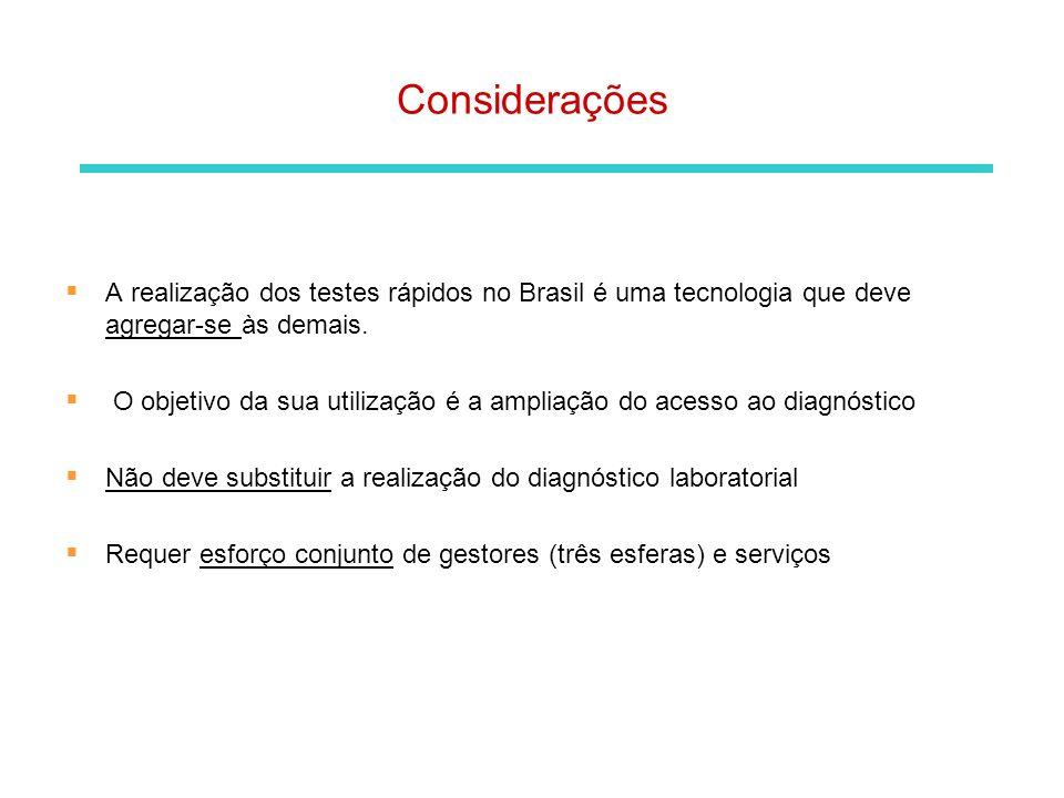 Considerações A realização dos testes rápidos no Brasil é uma tecnologia que deve agregar-se às demais.