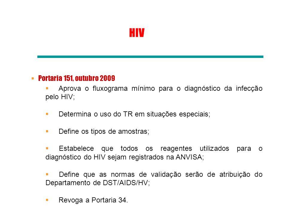 HIV Portaria 151, outubro 2009. Aprova o fluxograma mínimo para o diagnóstico da infecção pelo HIV;