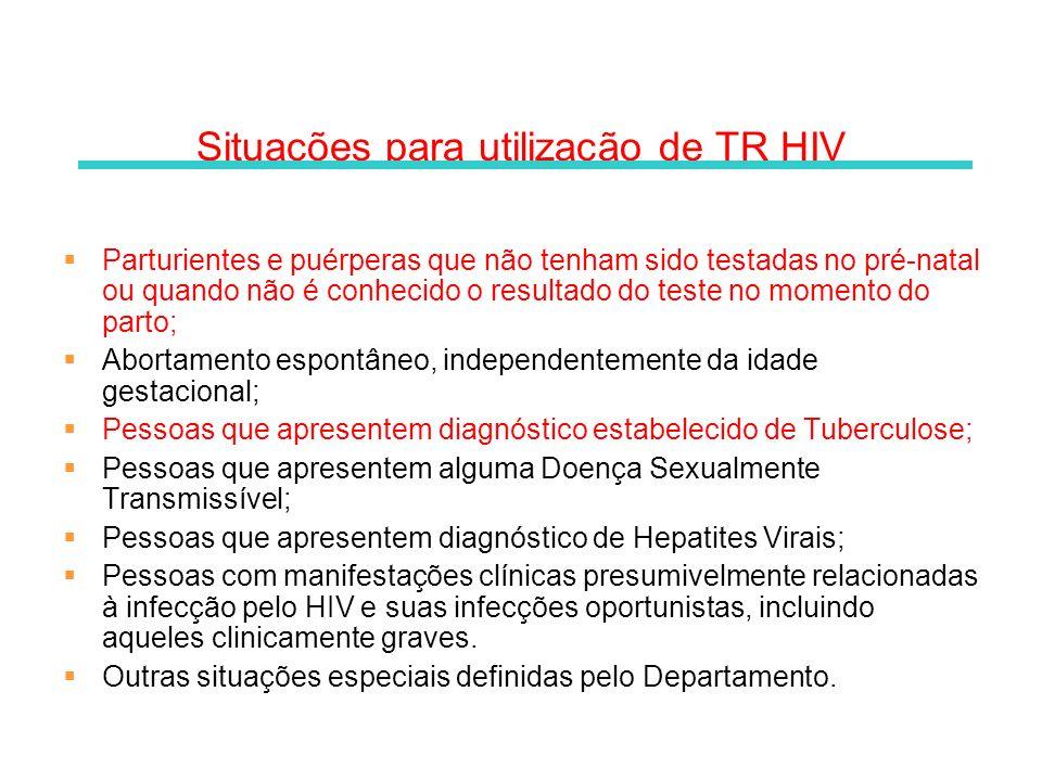Situações para utilização de TR HIV