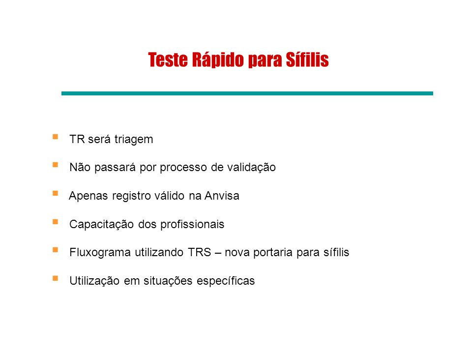 Teste Rápido para Sífilis