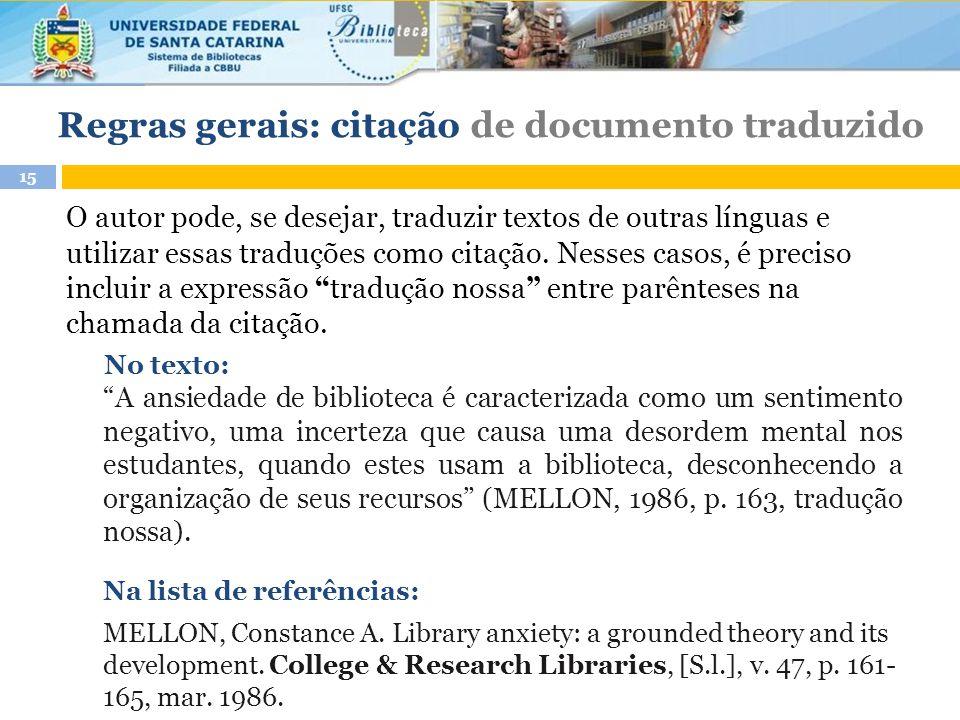 Regras gerais: citação de documento traduzido