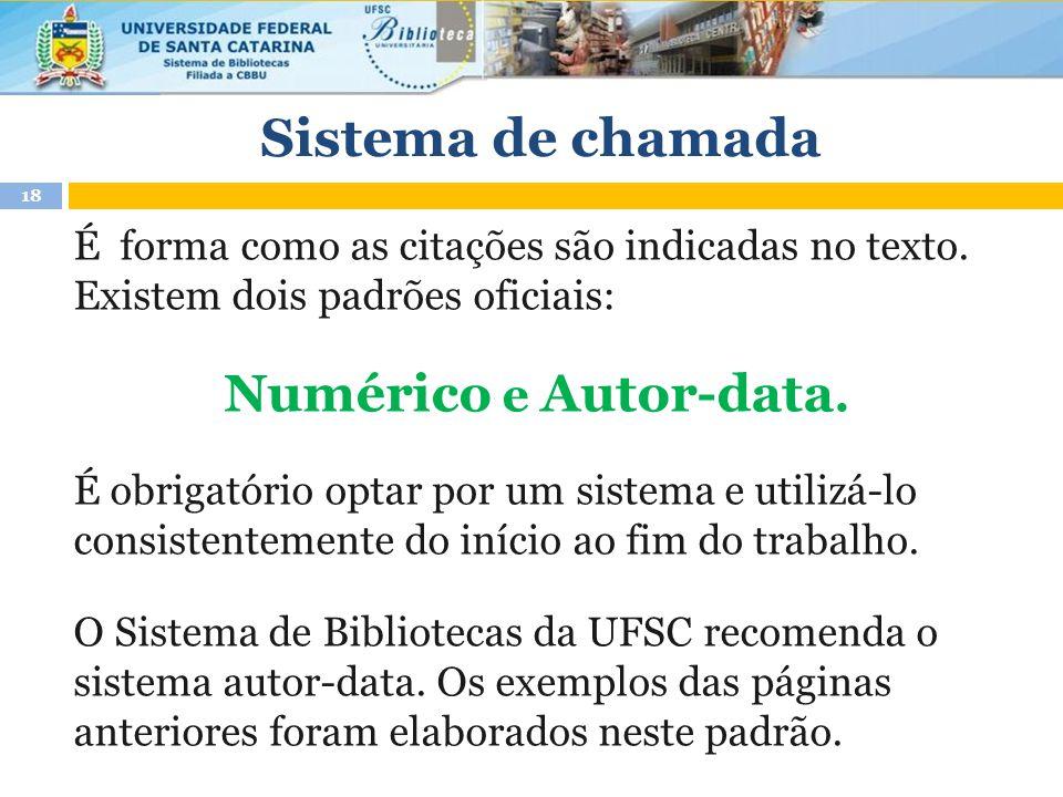 Sistema de chamada Numérico e Autor-data.