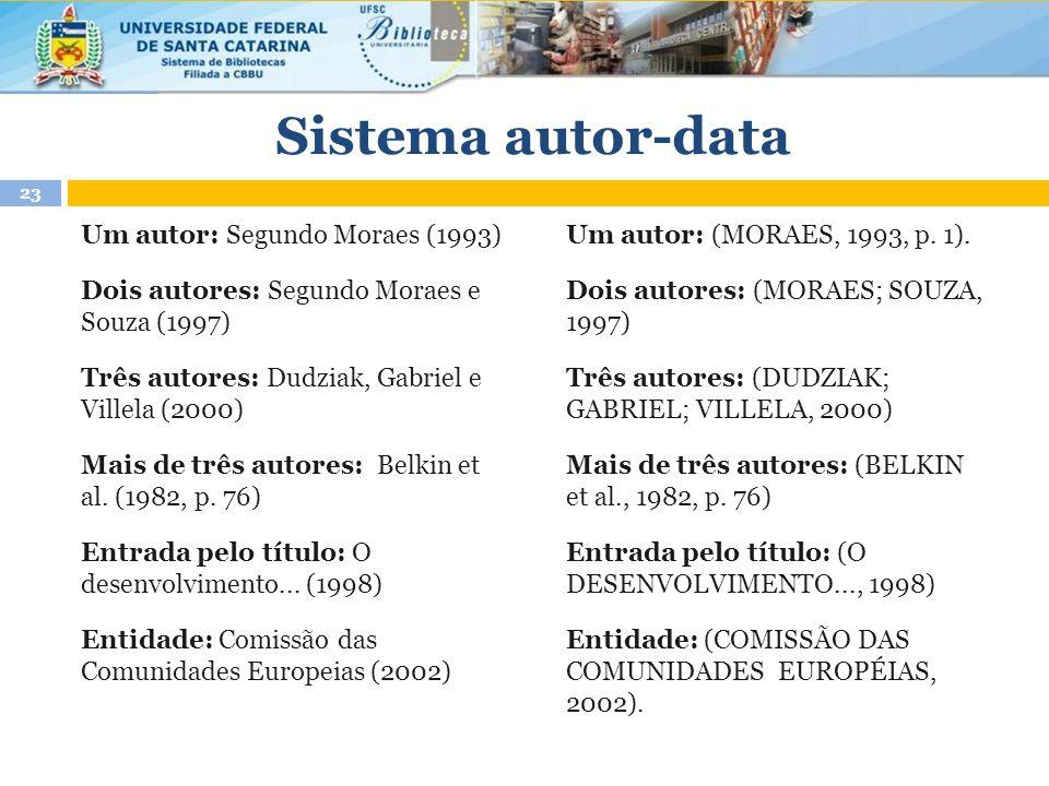 Sistema autor-data Um autor: Segundo Moraes (1993)