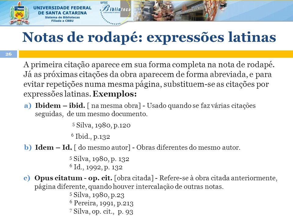 Notas de rodapé: expressões latinas