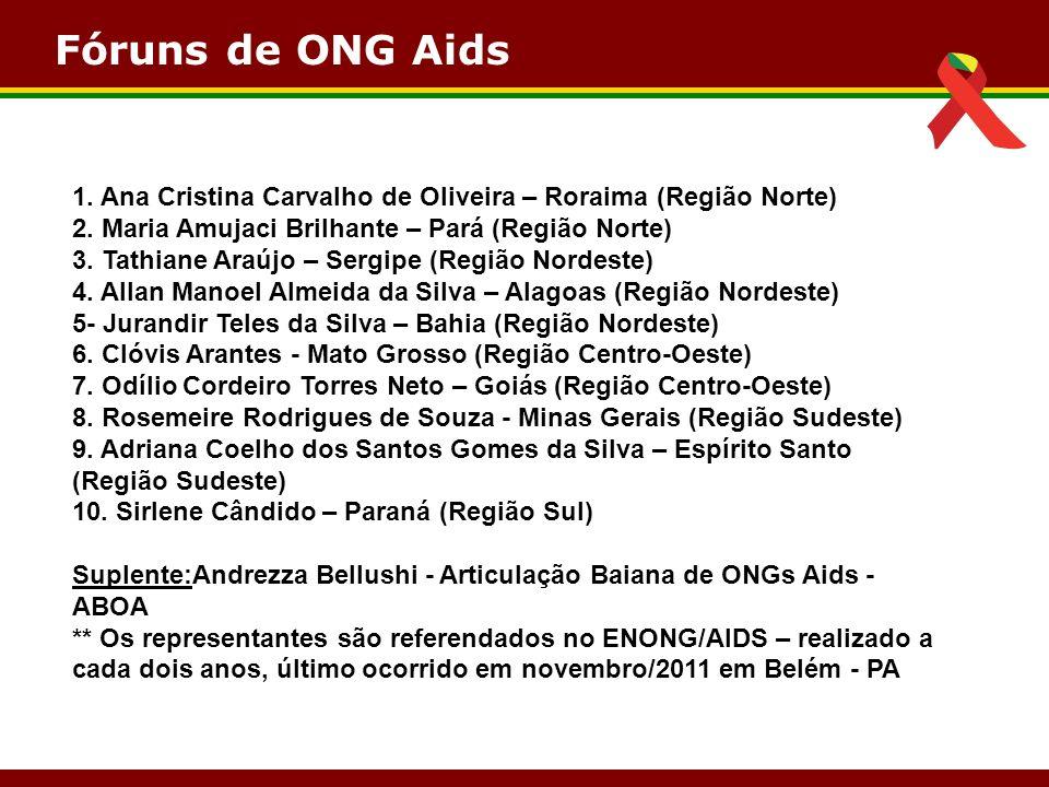 Fóruns de ONG Aids 1. Ana Cristina Carvalho de Oliveira – Roraima (Região Norte) 2. Maria Amujaci Brilhante – Pará (Região Norte)