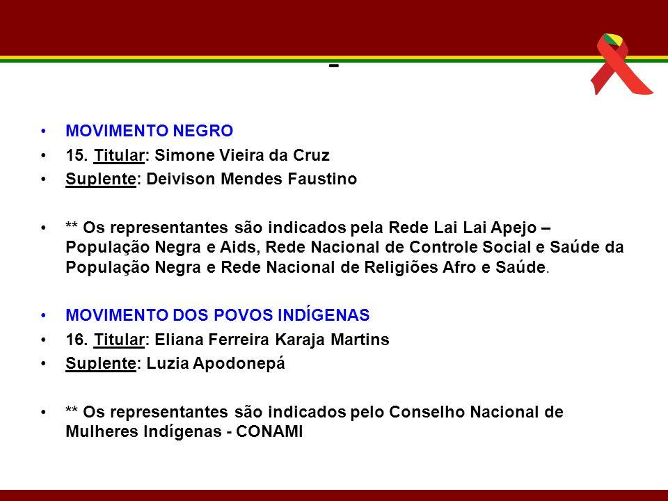 - MOVIMENTO NEGRO 15. Titular: Simone Vieira da Cruz