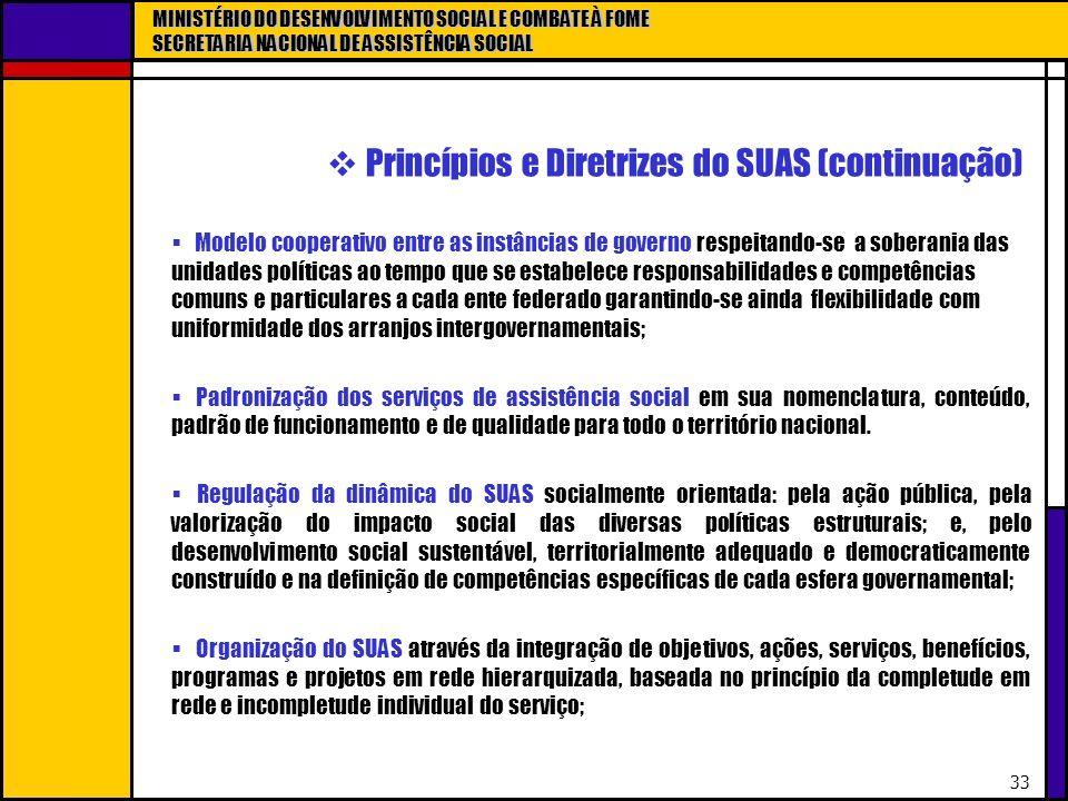 Princípios e Diretrizes do SUAS (continuação)