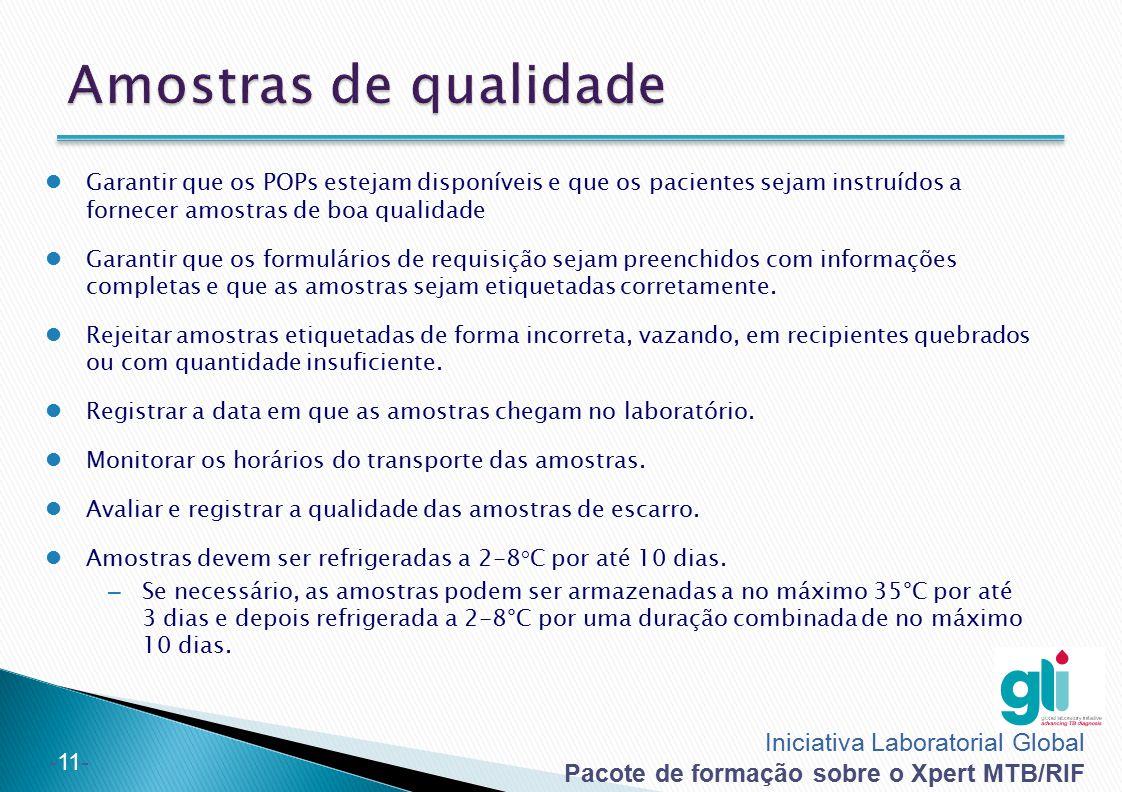 Amostras de qualidade Garantir que os POPs estejam disponíveis e que os pacientes sejam instruídos a fornecer amostras de boa qualidade.