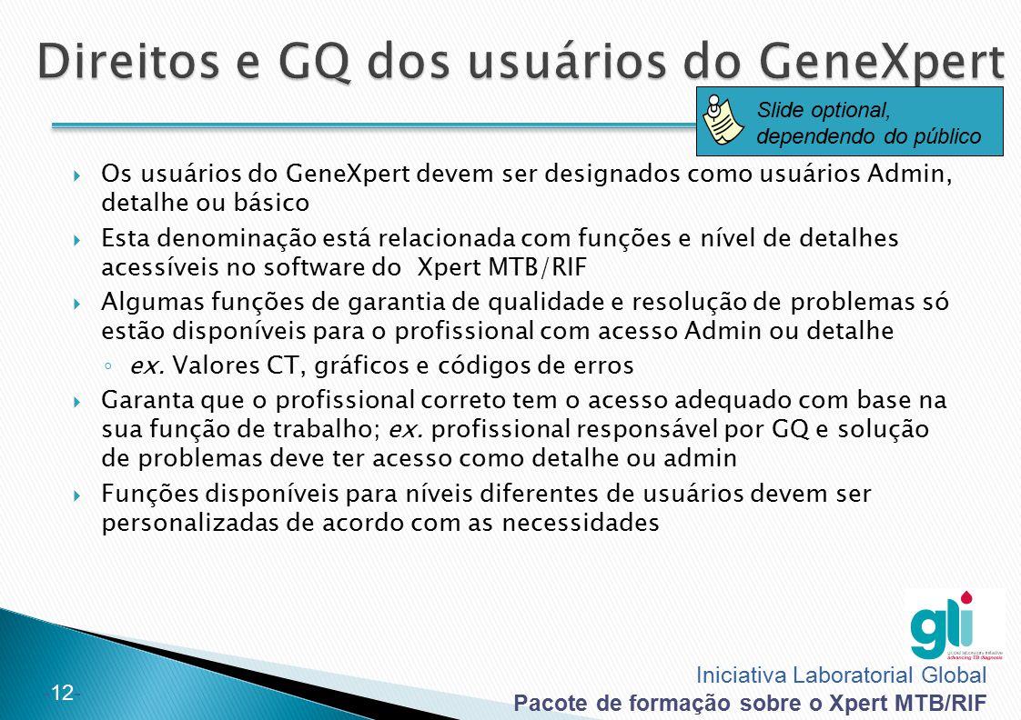Direitos e GQ dos usuários do GeneXpert