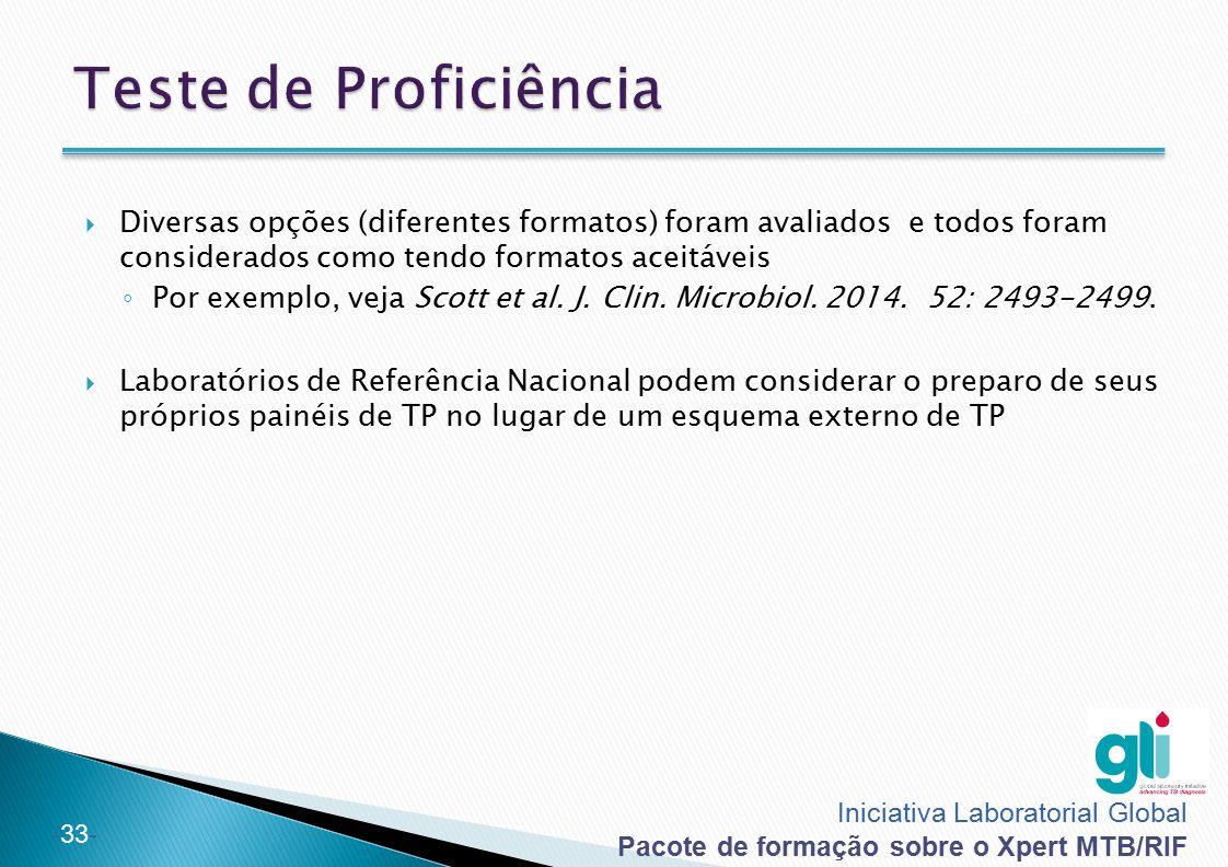 Teste de Proficiência Diversas opções (diferentes formatos) foram avaliados e todos foram considerados como tendo formatos aceitáveis.
