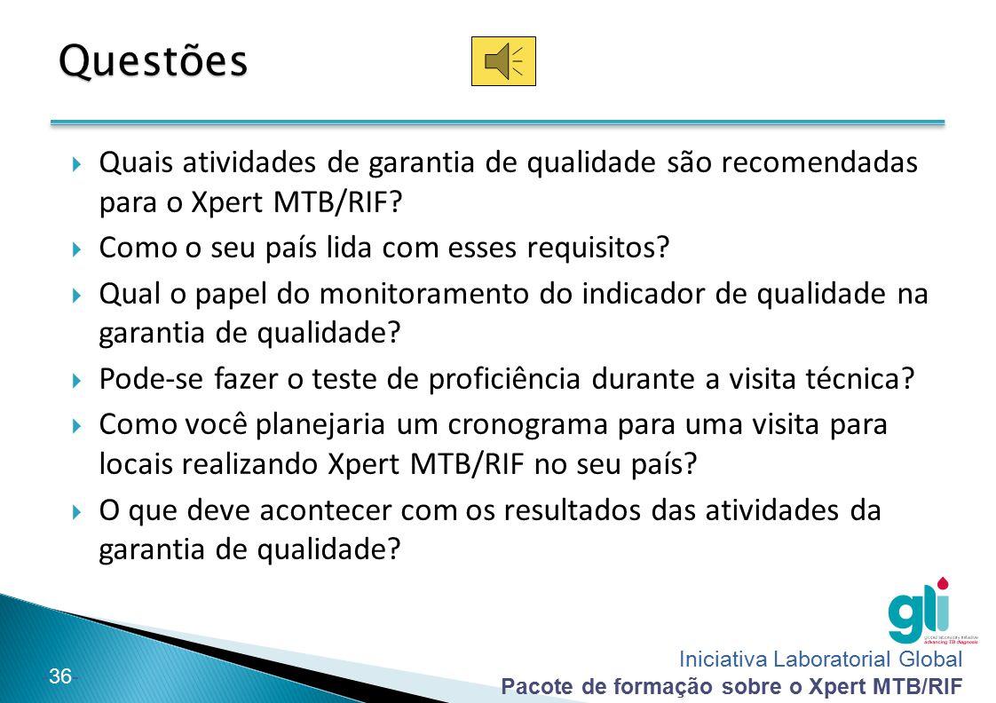 Questões Quais atividades de garantia de qualidade são recomendadas para o Xpert MTB/RIF Como o seu país lida com esses requisitos