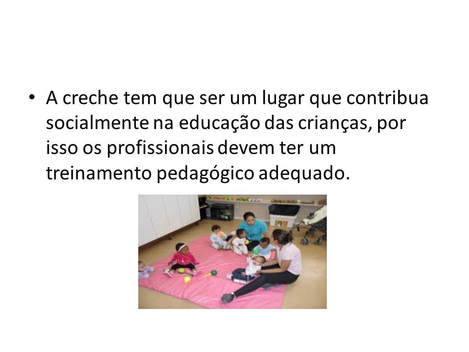 A creche tem que ser um lugar que contribua socialmente na educação das crianças, por isso os profissionais devem ter um treinamento pedagógico adequado.