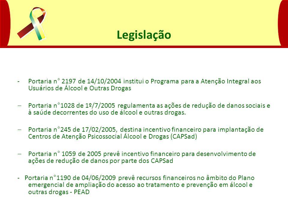 Legislação Portaria n° 2197 de 14/10/2004 institui o Programa para a Atenção Integral aos Usuários de Álcool e Outras Drogas.