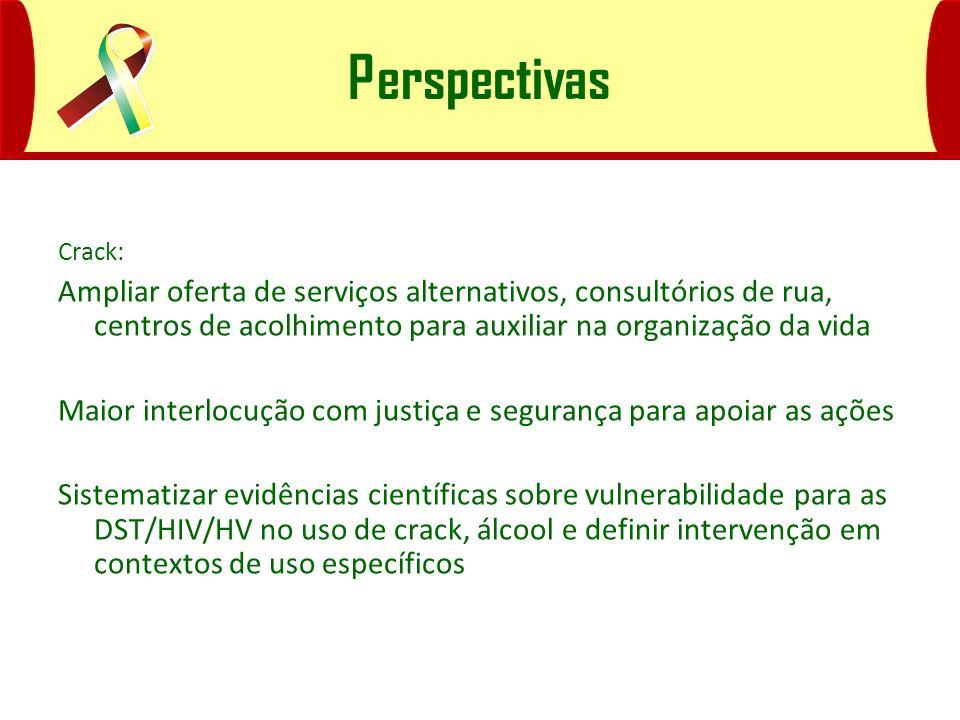 Perspectivas Crack: Ampliar oferta de serviços alternativos, consultórios de rua, centros de acolhimento para auxiliar na organização da vida.