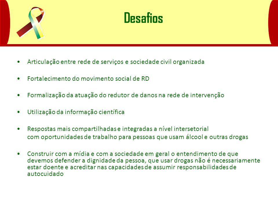 Desafios Articulação entre rede de serviços e sociedade civil organizada. Fortalecimento do movimento social de RD.