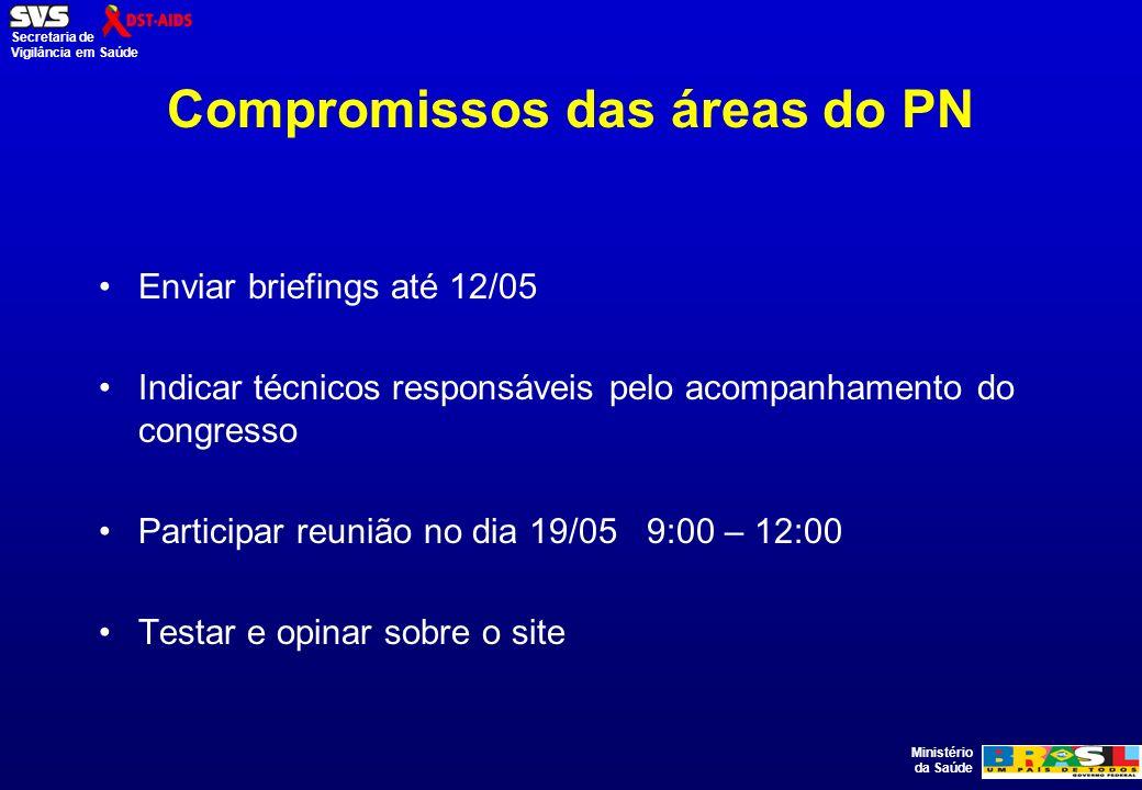 Compromissos das áreas do PN