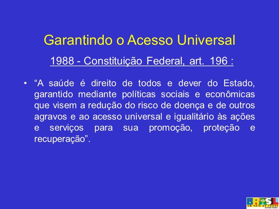 Garantindo o Acesso Universal 1988 - Constituição Federal, art. 196 :