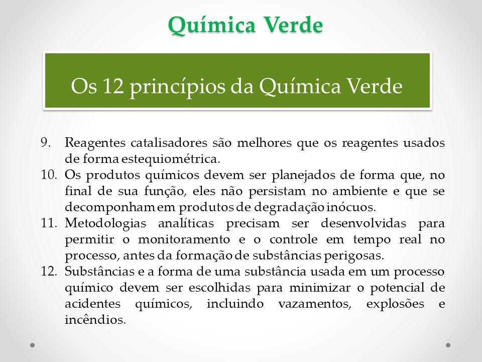 Os 12 princípios da Química Verde