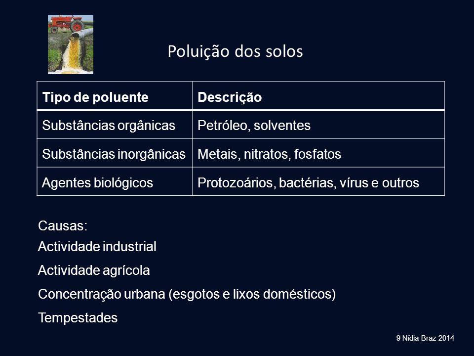 Poluição dos solos Tipo de poluente Descrição Substâncias orgânicas