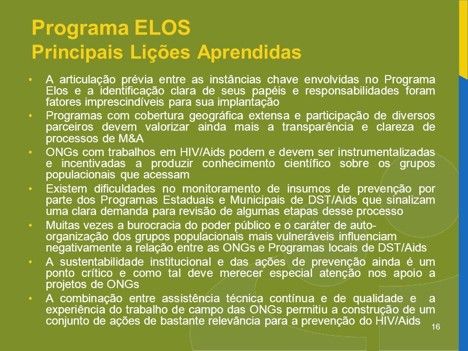 Programa ELOS Principais Lições Aprendidas