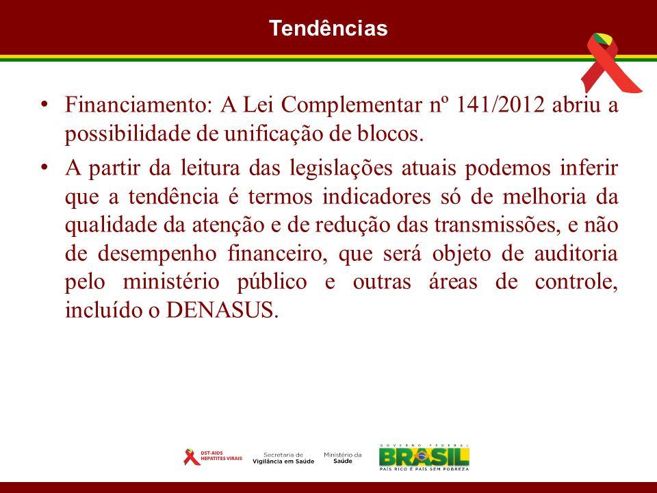 Tendências Financiamento: A Lei Complementar nº 141/2012 abriu a possibilidade de unificação de blocos.