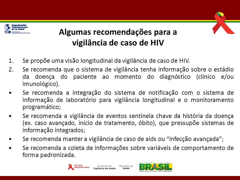 Algumas recomendações para a vigilância de caso de HIV