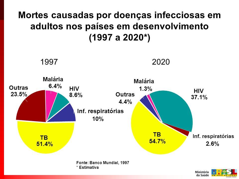 Mortes causadas por doenças infecciosas em adultos nos países em desenvolvimento (1997 a 2020*)