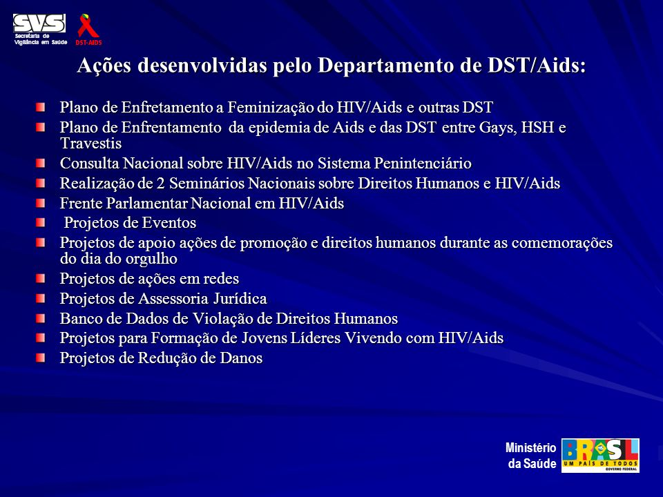 Ações desenvolvidas pelo Departamento de DST/Aids: