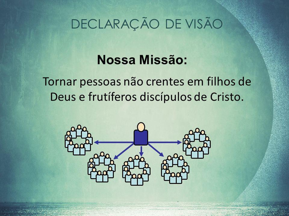 DECLARAÇÃO DE VISÃO Nossa Missão: Tornar pessoas não crentes em filhos de Deus e frutíferos discípulos de Cristo.